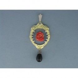 COLGANTE ART NOUVEAU ORO 750mm. DIAMANTES 0,35 ct. CORAL ONIX