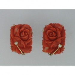 PENDIENTES FLORES DE CORAL BRILLANTES 0,03 ct EN ORO 750mm.