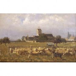 KNYFF Chevalier Alfred (1819-1885) --FLAMENCA-- 'Le parc aux moutons'