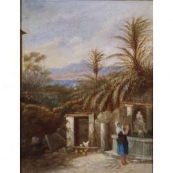 ANAGRAMADO R. B. (2/3 S. XIX) pendent --ITALIANA-- 'Paisaje del litoral'
