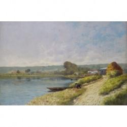 CHARLAY-POMPON Charles (mm. S. XIX) --FRANCESA-- 'Campiñas junto al río'