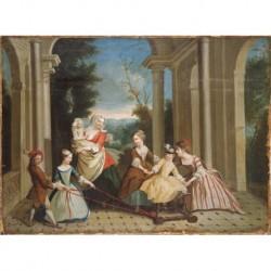 LANCRET Nicolas ? (1690 - 1743) --FRANCESA-- 'El juego de los niños'
