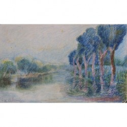 LEBOURG Albert Charles (1849-1928) --FRANCESA-- ' Paisaje con río'