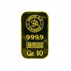 LINGOTE 10 Gr. ORO DE 999,9 mims. ARGOR S.A. ORO DE INVERSIÓN