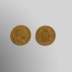 20 FRANCOS 8 FLORINES HUNGAROS 1877 ORO 900 mims.
