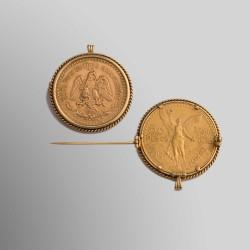 BROCHE DIJE 50 PESOS MEXICANOS 1 821 - 1947 ORO 900 mims.
