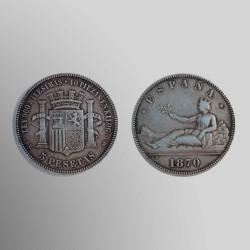 5 PESETAS 1870 I REPÚBLICA GOBIERNO PROVISIONAL