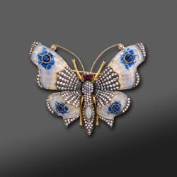 Broche/Colgante en forma de Mariposa con Diamantes, zafilos, opalos y Rubís.