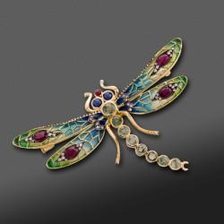 Broche/Colgante en forma de libelula con diamantes, zafiros y rubies.