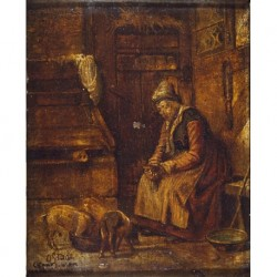 SEGUIDOR DE OSTADE Isaac Jansz --FLAMENCA-- 'Interior' S. XIX