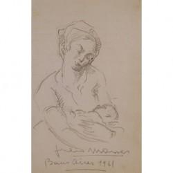 MOISÉS Júlio (1888-1968) --SANTANDERINA/ESPAÑOLA-- 'Maternidad' 1961