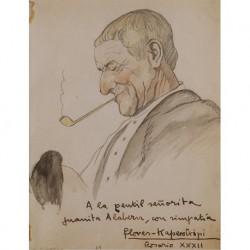 FLORES-KAPEROTXIPI Mauricio (1911-2001) --VASCO / ARGENTINA-- 'Aitite (abuelo) fumando en pipa' 19