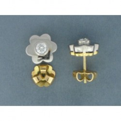 PENDIENTES ORO BLANCO 750 mm. FLOR LOBULADA BRILLANTE (2) CENTRAL 0,70 ct