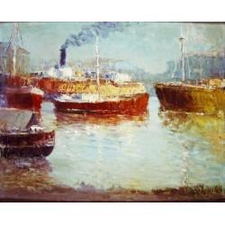 *LYNCH Justo Máximo (1870-1953) --ARGENTINA-- 'Barcos en el Dock Sur'