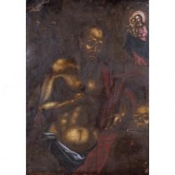 ANÓNIMO S. XVII --ESPAÑOLA-- 'Santo ante la Virgen'