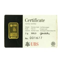 LINGOTE 2 Gr. ORO DE 999,9 MILÉSIMAS UBS. ORO DE INVERSIÓN