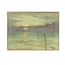 *VALLARINO A. (pp. S. XX) --URUGUAYA-- '·Atardecer en el mar'